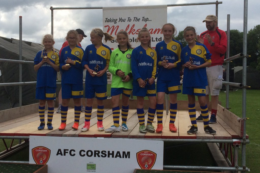 Victorious Under 11 Girls team at AFC Corsham's tournament